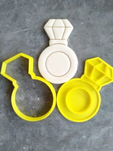Engagement Ring Cookie Cutter and Fondant Embosser Imprint Stamp