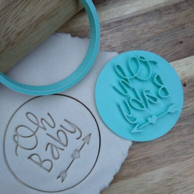 Oh Baby Cookie Fondant Embosser Stamp and Cutter Baby Shower
