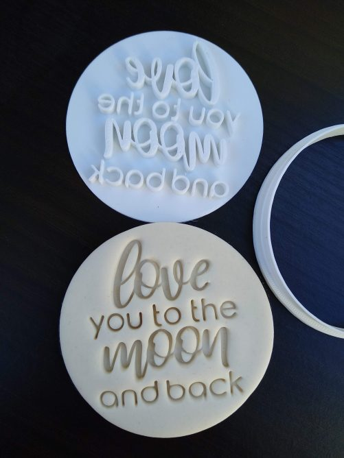 Love you to the moon and back cookie fondant embosser stamp and cutter