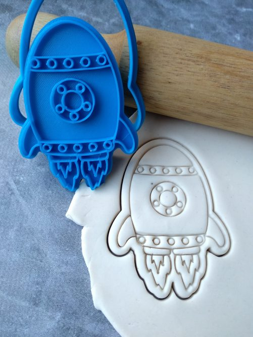 Rocketship Cookie Cutter and Fondant Stamp Embosser