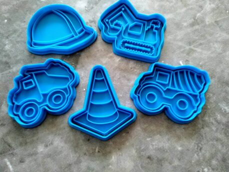 Construction Set Cement Truck, Digger, Dump Truck, Road Cone Cookie Cutters