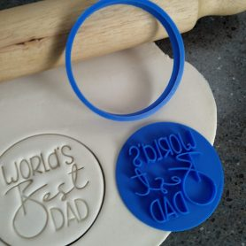 Worlds Best Dad Cookie Fondant Embosser Stamp and Cutter