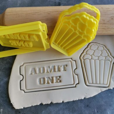 Carnival Circus Theme or Movie Night Popcorn Admit One Cookie Fondant Embosser Stamp & Cutters