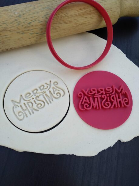 Merry Christmas Cookie Fondant Embosser Stamp & Cutter