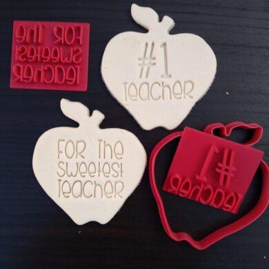 Teachers Gift Fondant Embosser Stamps and Apple Cutter