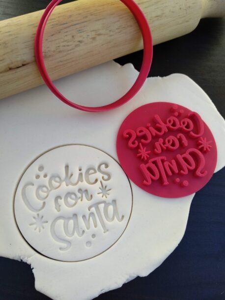 Cookies for Santa Christmas Xmas Cookie Fondant Embosser Stamp & Cutter