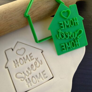 Home Sweet Home Housewarming Gift Cookie Fondant Embosser Stamp and House Cutter