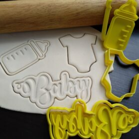 baby bottle onesie cookie fondant cutter embosser
