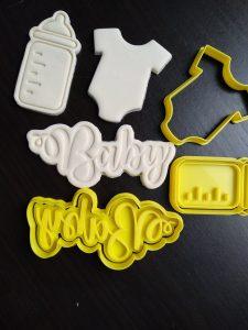baby bottle onesie cookie fondant cutter embosser