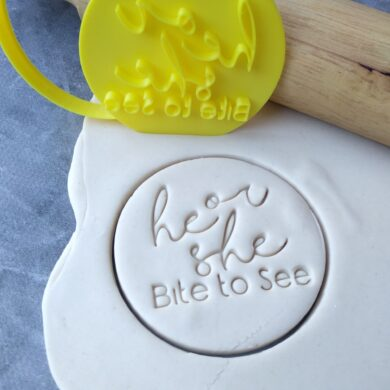 He or She? Bite to See Gender Reveal Day Party Cookie Fondant Stamp and Cutter