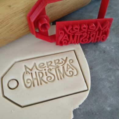 DIY Merry Christmas Gift Tag Cookie Fondant Embosser Stamp & Cutter
