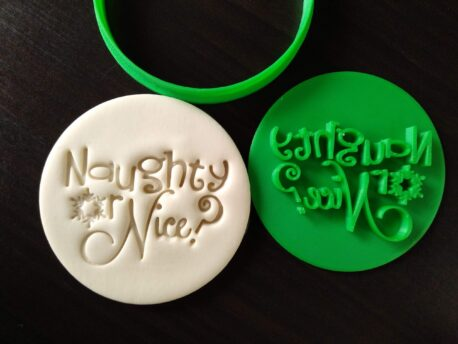Naughty or Nice? Christmas Xmas Cookie Fondant Embosser Stamp & Cutter