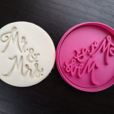 Mr & Mrs Cookie Fondant Stamp Embosser and Cutter