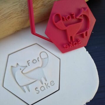 For Fox Sake / Old as Fox / Getting Old Joke Birthday Woodland Theme Fox and Wreath Cookie Fondant Embosser Stamp and Cutter