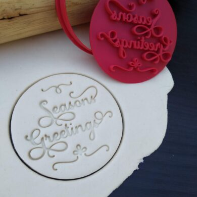 Seasons Greetings Cookie Fondant Embosser and Cutter