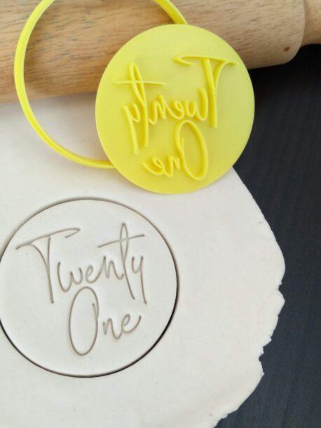 Twenty One / 21st Birthday Cookie Fondant Embosser Stamp and Cutter