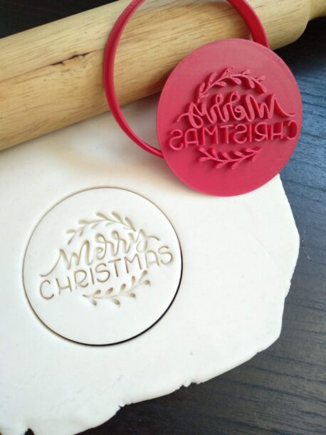 Merry Christmas (Style 2) Cookie Fondant Embosser Stamp & Cutter