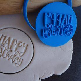 Happy birthday cookie fondant embosser cutter