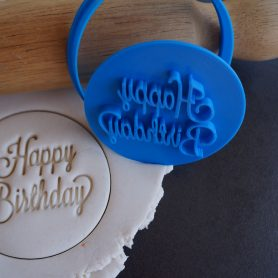 Happy birthday cookie fondant embosser cutter