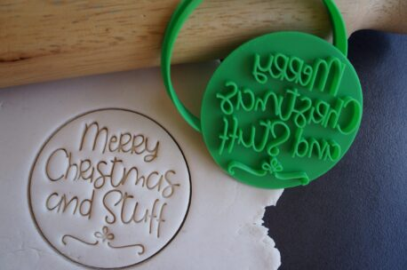 merry christmas and stuff cookie fondant embosser cutter