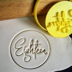 Eighteen / 18th Birthday Cookie Fondant Embosser Stamp and Cutter