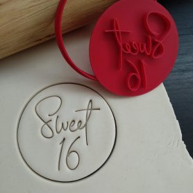 Sweet Sixteen / Happy 16th Birthday Cookie Fondant Embosser Stamp and Cutter