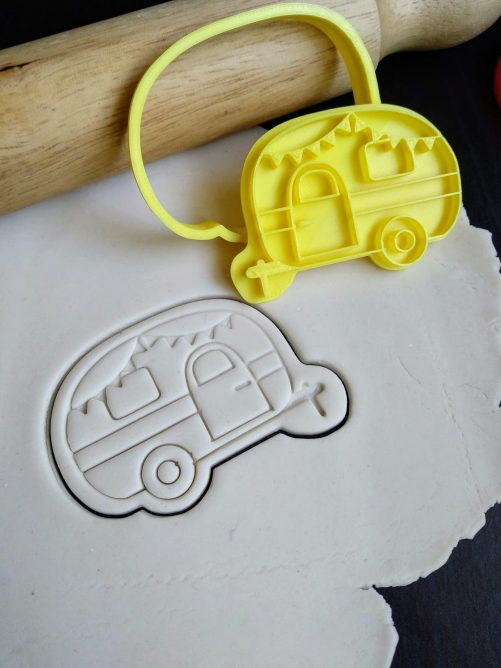 Caravan / Cute Camper Cookie Fondant Embosser Stamp and Cutter Happy Camper