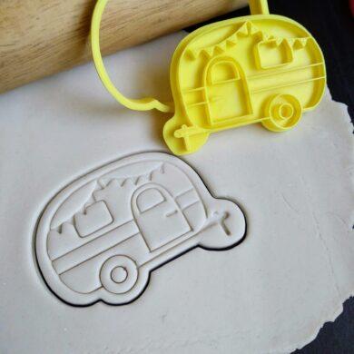 Caravan / Cute Camper Cookie Fondant Embosser Stamp and Cutter Happy Camper