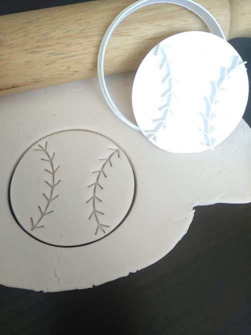 Baseball Tee Ball Softball Cookie Cutter & Fondant Stamp Embosser