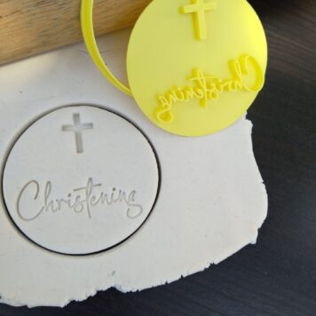 Christening with Cross Cookie Fondant Embosser Stamp and Cutter