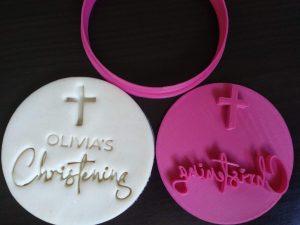 christening cross fondant embosser