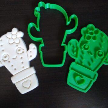 Cute Kawaii Cactus Cookie Cutter / Fondant Embosser Stamp