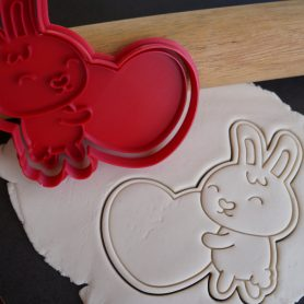 valentines bunny heart cookie cutter fondant embosser