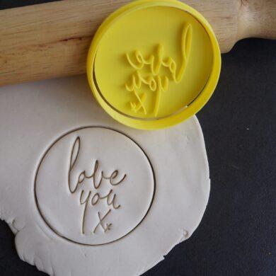 valentines love you xx cookie cutter fondant embosser