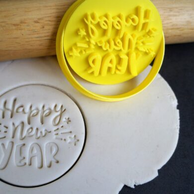 happy new year cookie cutter fondant embosser