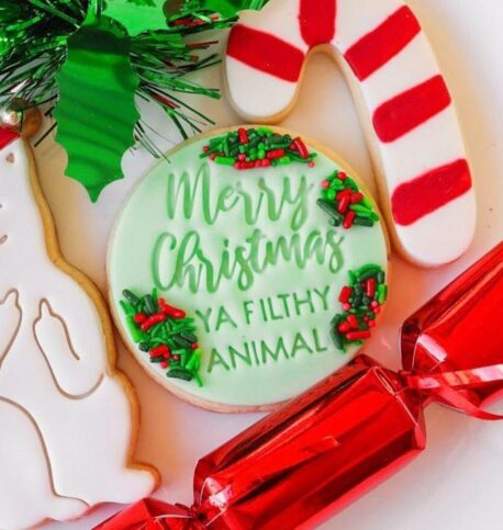 Merry Christmas Ya Filthy Animal Cookie Fondant Stamp Embosser & Cutter
