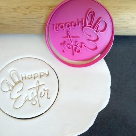 Happy Easter with Bunny Ears Cookie Fondant Stamp Embosser and Cutter