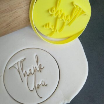 Thank You (Style 3) Cookie Fondant Embosser Stamps and Cutter