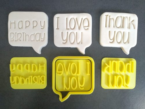 Speech Bubble Cookie Cutter with Thank You, Happy Birthday & I Love You Text Stamp Embossers