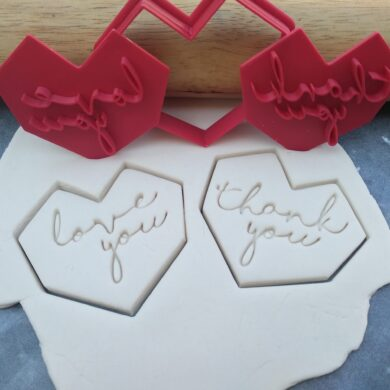 Modern Low Poly Heart Cookie Cutter Set with Love You & Thank you Embossers