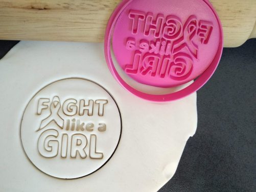 Fight Like a Girl / Cancer Ribbon Cookie Fondant Embosser Stamps and Cutter