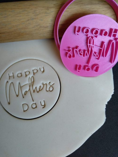 Happy Mothers Day (Style 2) Cookie Fondant Embosser Stamp & Cutter