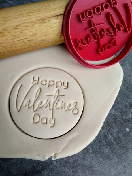 Happy Valentines Day Cookie Fondant Stamp Embosser and Cutter
