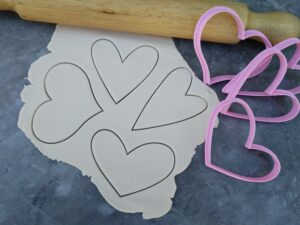 Rustic Heart Cookie Cutter & Fondant Cutter Set of 4 - Modern Heart, Wide Heart, Funky Heart, Skinny Whimsical Shape Cutters
