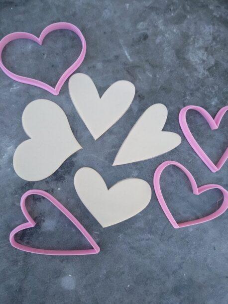 Rustic Heart Cookie Cutter & Fondant Cutter Set of 4 - Modern Heart, Wide Heart, Funky Heart, Skinny Whimsical Shape Cutters