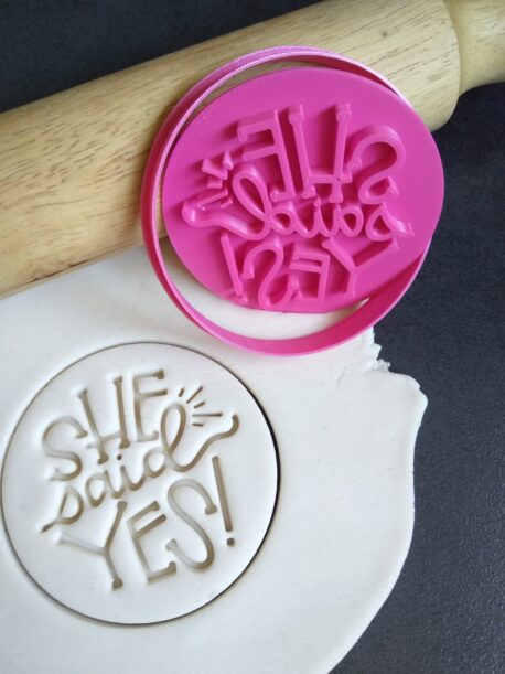 She Said Yes Cookie Fondant Embosser Stamp & Cutter - Engagement - Bride to Be