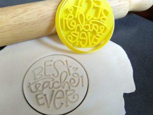 Best Teacher Ever Cookie Fondant Embosser Stamp & Cutter