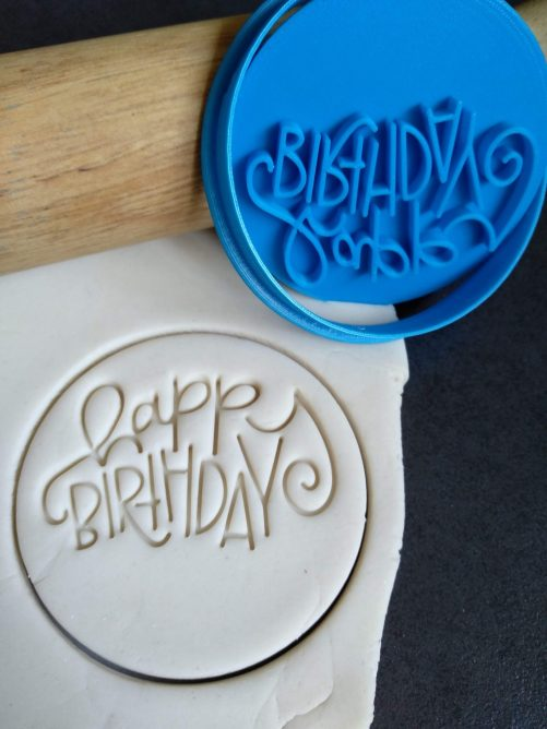 Happy Birthday (style 3) Cookie Fondant Embosser Stamp & Cutter