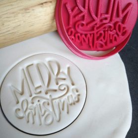Merry Christmas (style 3) Cookie Fondant Embosser Stamp & Cutter