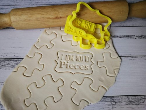 Jigsaw - I Love You to Pieces / Valentines Cookie Fondant Stamp Embosser and Cutter